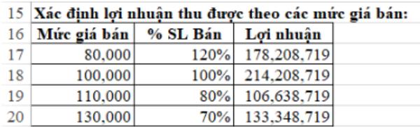Cách tính lợi nhuận  trong Excel 9
