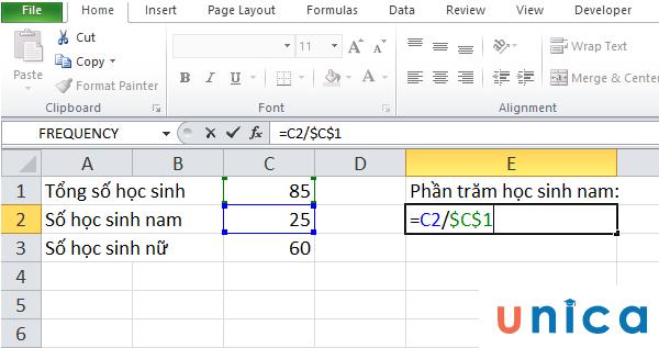 Tính tỷ lệ phần trăm của một tổng trong Excel 1