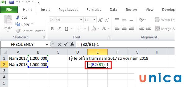 Tính tỷ lệ phần trăm thay đổi giữa 2 số trong Excel 1