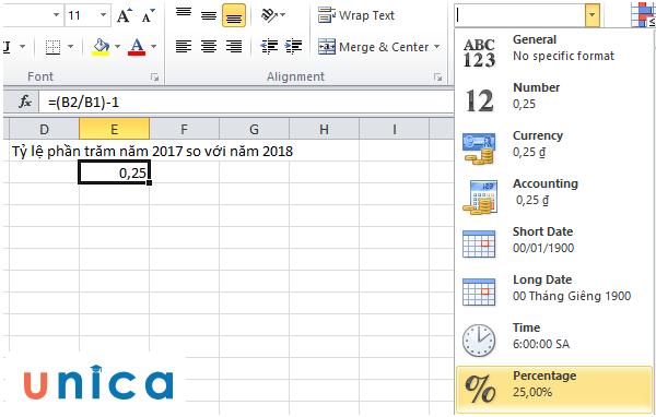 Tính tỷ lệ phần trăm thay đổi giữa 2 số trong Excel 2