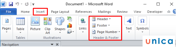 Header, Footer, Page Number