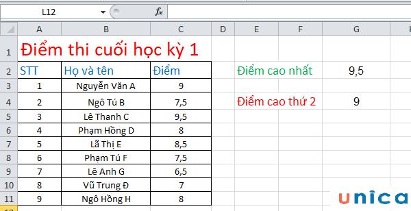 Ví dụ về cách sử dụng hàm large trong Excel