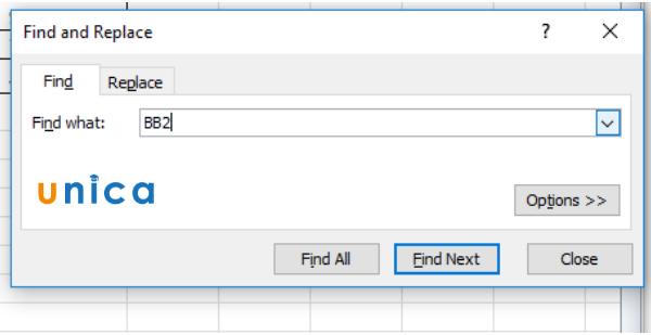 Cách tìm kiếm trong Excel 2