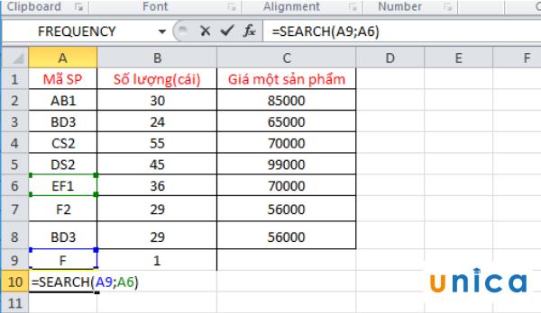 Sử dụng hàm Search tìm kiếm trong Excel