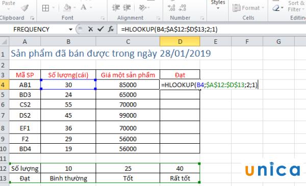 Sử dụng hàm Hlookup tìm kiếm trong Excel 2