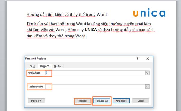 Tìm kiếm và thay thế dấu câu