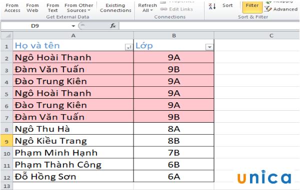 Cách tìm lọc và xóa dữ liệu trùng lặp trong Excel 7