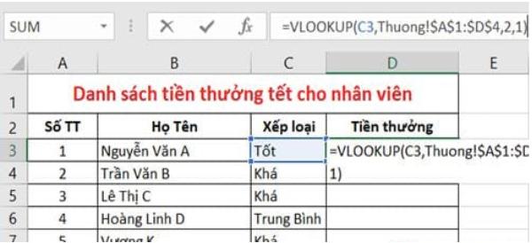 Áp dụng hàm Vlookup giữa 2 sheet 4