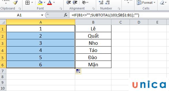 Cách đánh số thứ tự khi xóa với hàm Subtotal 4