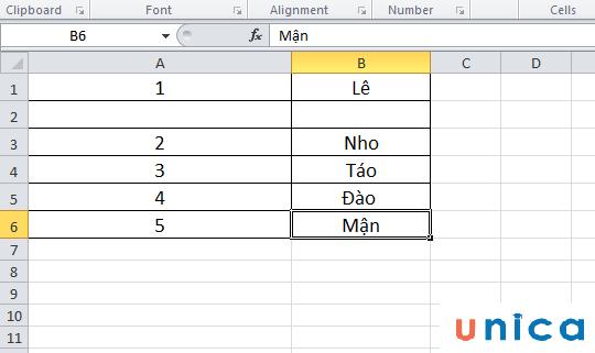 Cách đánh số thứ tự khi xóa với hàm Subtotal 5