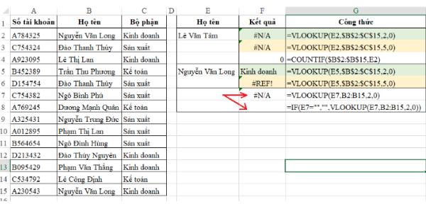 Xử lý lỗi #n/a trong Excel 1
