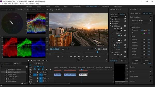 phần mềm chỉnh màu video
