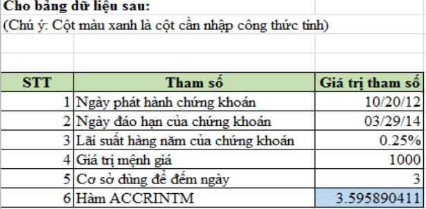Bài tập sử dụng hàm ACCRINTM