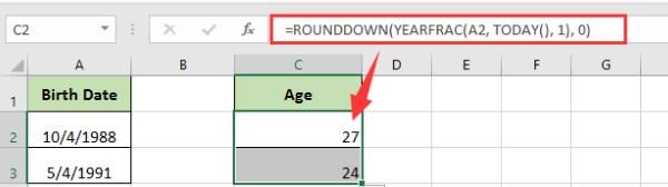Ví dụ tính tuổi trong excel