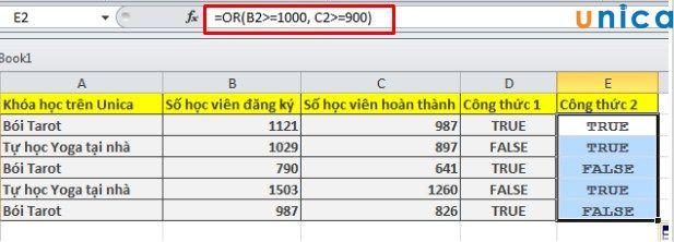 Ví dụ minh họa cách sử dụng hàm Or trong Excel