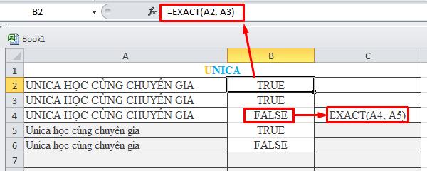 Cách dùng hàm so sánh chuỗi trong excel