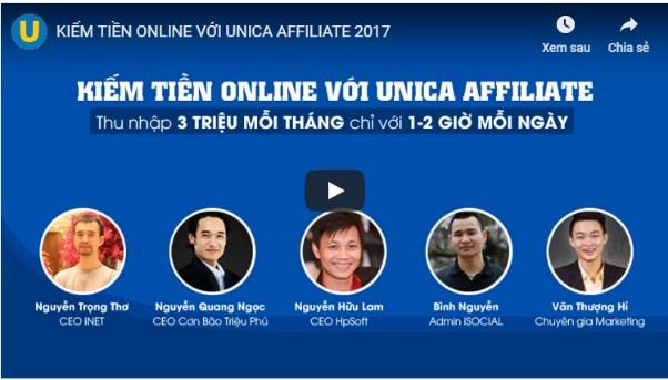 Khóa học Kiếm tiền online với Unica Affiliate
