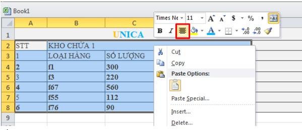 Cách căn chữ vào giữa ô trong Excel