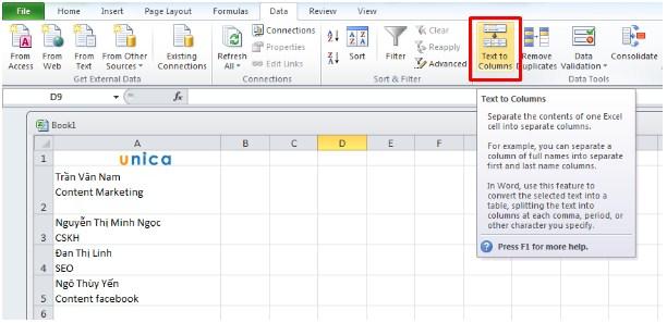 Cách chia ô và cột trong Excel