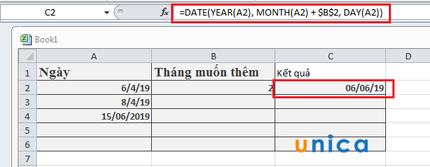 Cách cộng trừ ngày tháng năm trong Execel