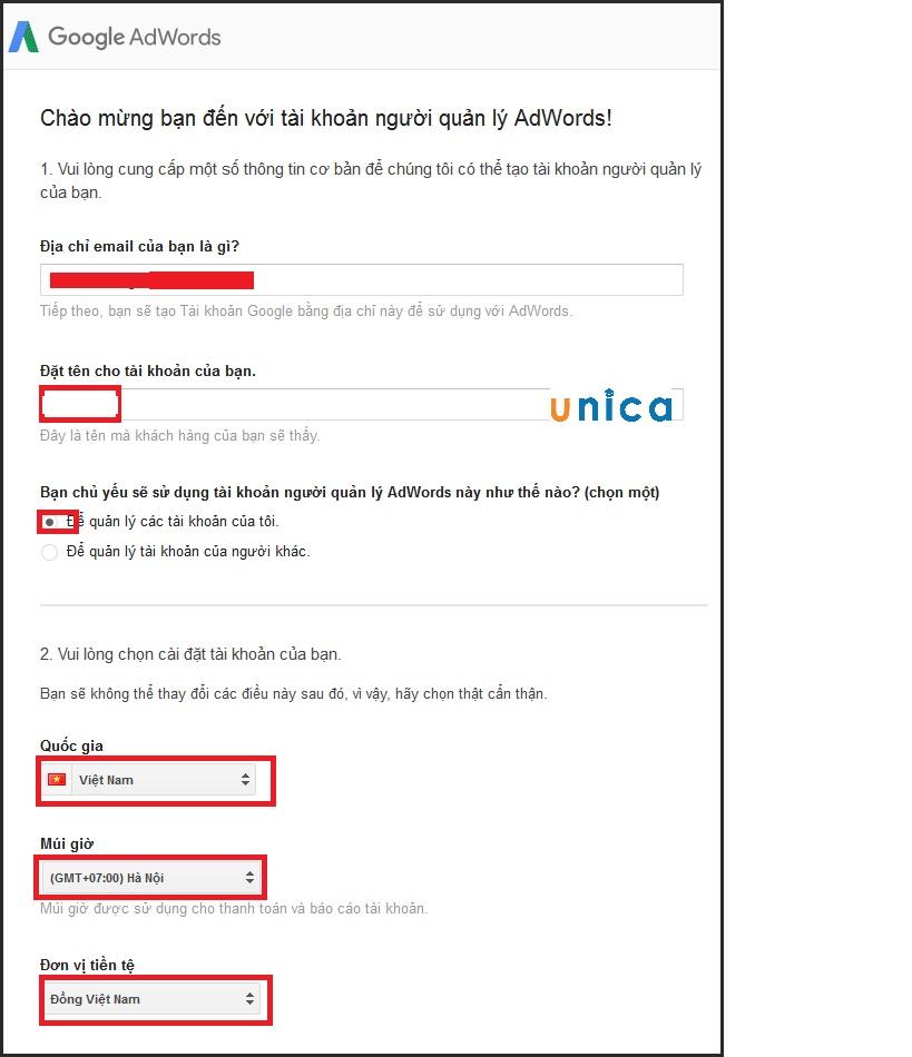 Cách đăng ký tài khoản Google MCC