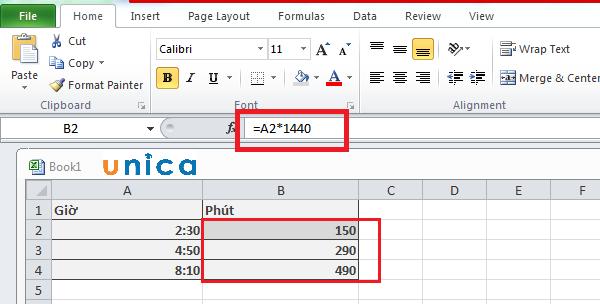 Cách đổi giờ ra phút trong Excel