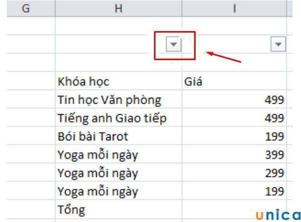 Ví dụ các phím tắt tính tổng trong Excel
