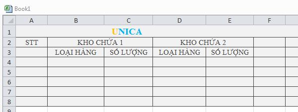 Ví dụ cách gộp ô trong Excel