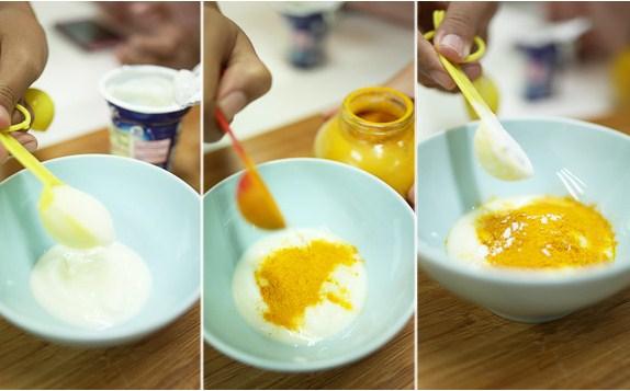Sữa chua kết hợp với tinh bột nghệ trị mụn thâm, các vết nám sẹo đem lại làn da mịn màng, sáng khỏe