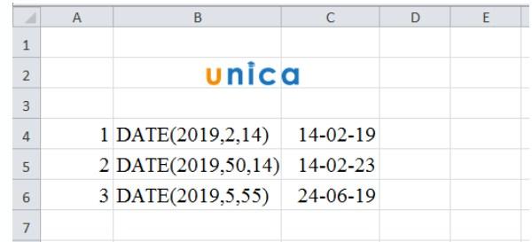 Hàm Microsoft Excel DATE