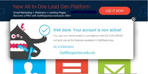Bước 8: Bạn đã đăng ký thành công GetResponse và ra giao diện Dashboard của GetResponse