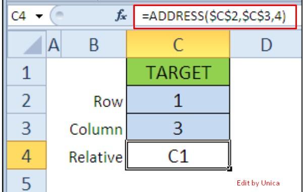 Ví dụ hàm address trong excel