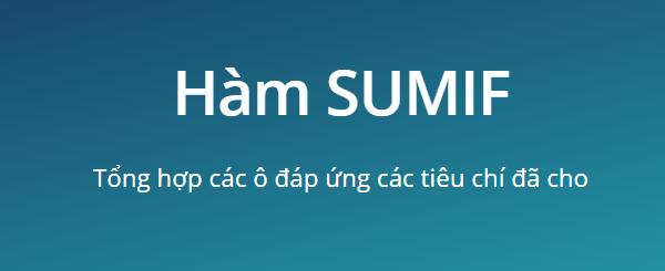 Cách sử dụng Hàm SUMIF