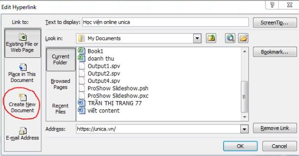 Tạo liên kết tới một file Excel mới