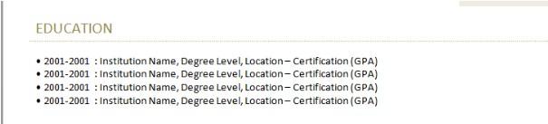 Ví dụ về trình độ học vấn bằng CV trong tiếng Anh