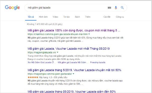 Ví dụ về các website chuyên về mã giảm giá được lên Top