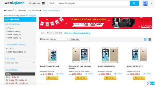 Ví dụ về website so sánh giá sản phẩm iphone