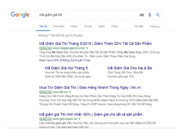 """Khi bạn tìm kiếm từ khóa: """"mã giảm giá tiki"""" trên Google thì sẽ có khoảng 7.240.00 kết quả được hiển thị"""