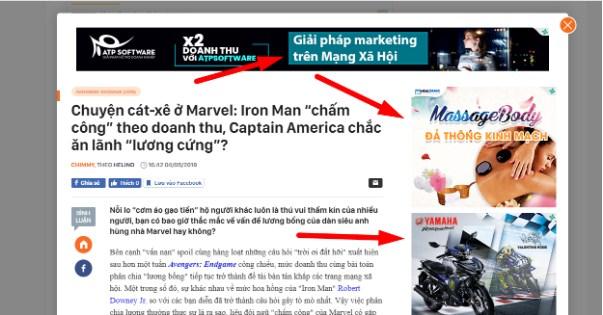 Ví dụ về banner quảng cáo trên Website