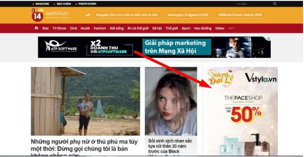 Ví dụ Kênh14 là 1 trang tin tức lớn đang được kiếm tiền với Google Adsense