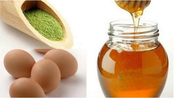 Mật ong, lòng trắng trứng và bột trà xanh thích hợp cho những bạn da khô và da thường