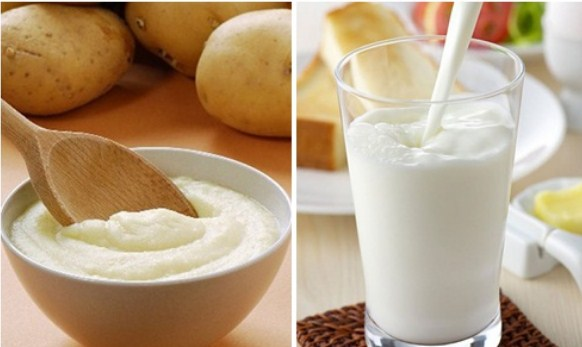 Mặt nạ trắng da từ khoai tây, sữa tươi