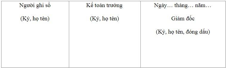 Mẫu sổ cái dùng cho hình thức kế toán chứng từ ghi sổ