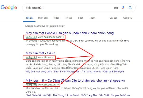 Một ví dụ về SEM trên công cụ Google