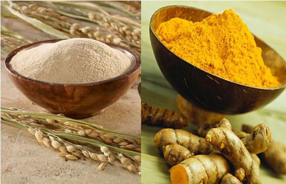 Bột nghệ và cám gạo giúp giảm thâm sạm, ngăn ngừa mụn hiệu quả
