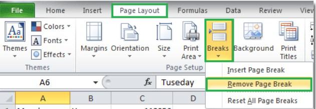 Cách xóa ngắt trang trong Excel