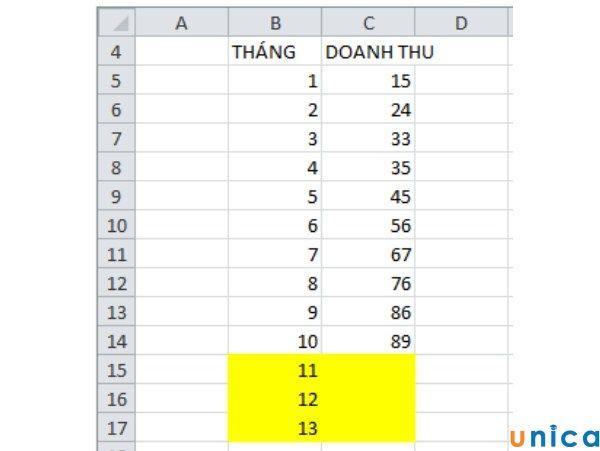 Ví dụ về hàm nội suy trong Excel