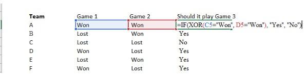 Ví dụ phép Xor trong Excel