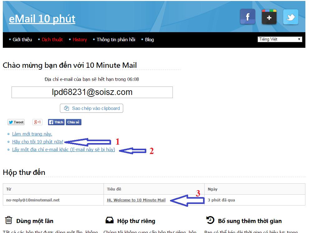 3 Website giúp tạo email 10 phút được sử dụng phổ biến hiện nay