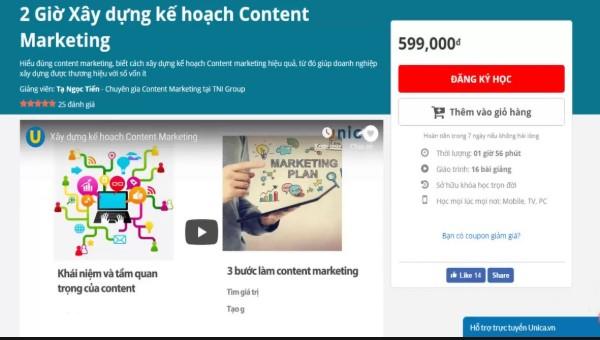 Khóa học 2 giờ xây dựng kế hoạch Content Marketing